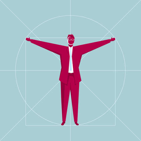 Business design concept, standing businessman. The background is blue.