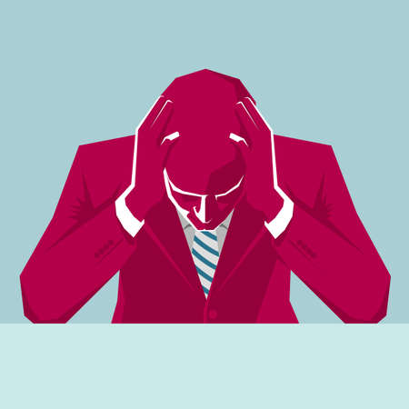 Contemplative businessman holding head. The background is blue. 일러스트