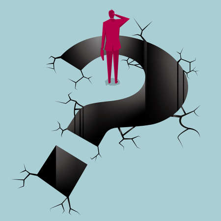 Businessman stands next to the trap,the trap is a question mark shape.The background is blue.