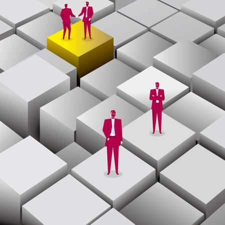 Teamwork concept, businessman stands on cubes. The background is blue.