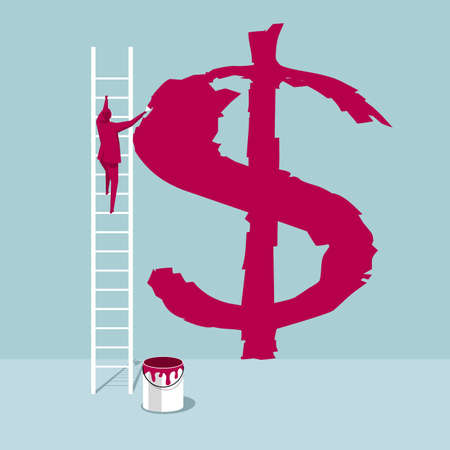 The artist draws a dollar sign on the wall. The background is blue. Stock Illustratie