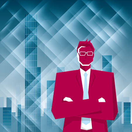 Businessman stands in front of the skyscraper.