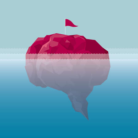 The flag was inserted into a brain-like island in the deep sea