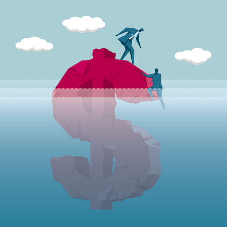 Financial concept design, rescue the businessman who fell into the water. Illustration