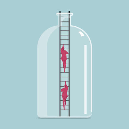 Businessmen climb out of the bottle from the ladder.