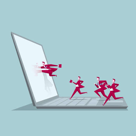 Computer network design. A group of businessmen ran to the computer. Vektorové ilustrace