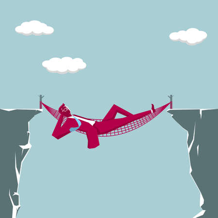 Business design concept. Businessman lying in a hammock on the edge of a cliff.