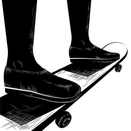 drawing skateboarding, isolated on white background.