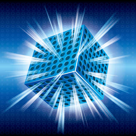 The glowing cube on blue background