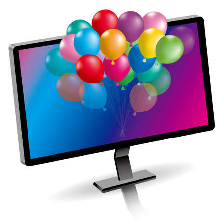 Colorful balloons and computer, isolated on blue background.