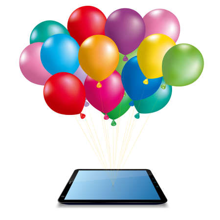 Colorful balloons and mobile tablet, isolated on blue background. 向量圖像