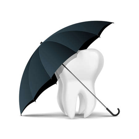 Teeth in the umbrella. Isolated on white background. Illustration