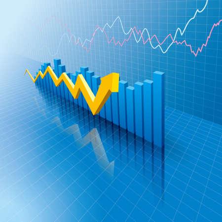 Análisis de datos comerciales. Diseño de informes de desempeño empresarial. Ilustración de vector