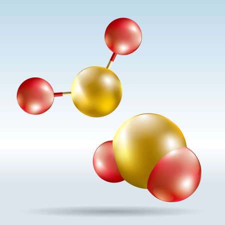 Vector drawn molecular structure. The background is blue gradient.