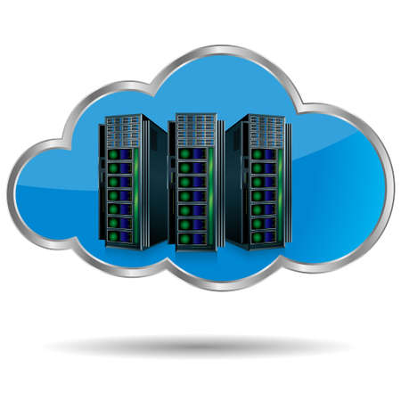 Cloud computing concept design. Isolated on white background. Vektorové ilustrace