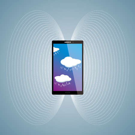 Vector drawn mobile phone. Cloud computing concept. Иллюстрация