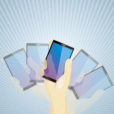 Shake your smartphone with your hand. Blue radiation background.