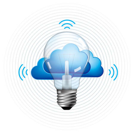 Cloud computing concept design. A combination of light bulbs and clouds.