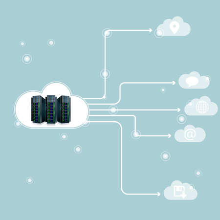 Vector drawing super computer.Cloud computing concept. Illustration