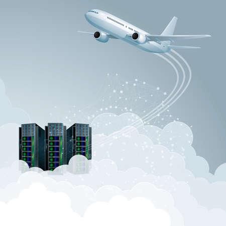 Cloud computing concept design. Aircraft and supercomputers. Vektorové ilustrace