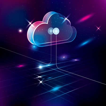 Technology background, cloud computing concept design, network server.