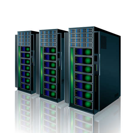 Vector mapping of supercomputers. Isolated in white background.