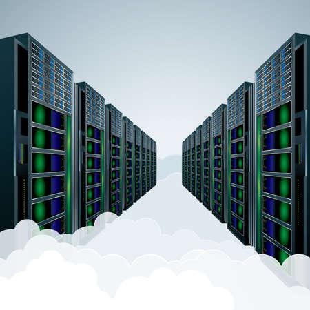 Vector drawing super computer.Cloud computing concept.