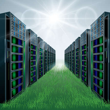 Vector mapping of supercomputers.Direct sunlight, green grass. Vektorové ilustrace