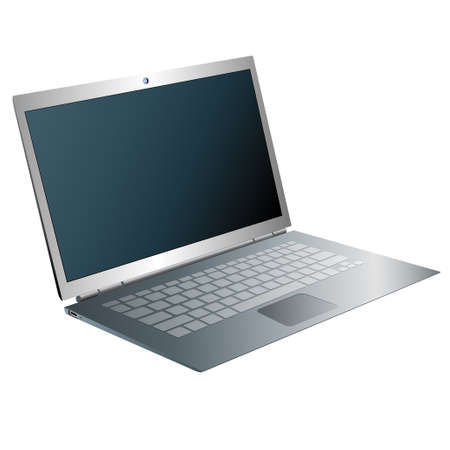 Vector drawn laptop. Isolated on white background. Illustration