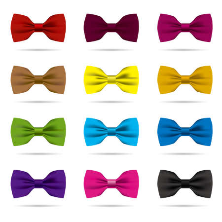 Vector drawn bow tie set.Isolated on white background. Illustration