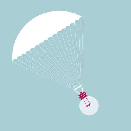 Parachute with Light Bulb 向量圖像