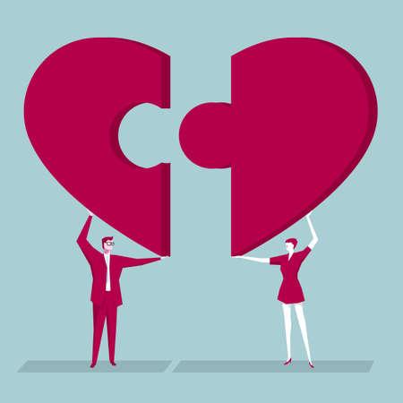 Teamwork concept design. Businessman and businesswoman raise heart-shaped puzzle symbols.