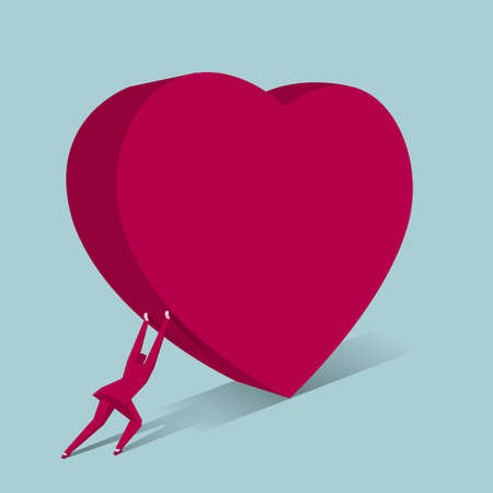 Businessman pushes heart shaped symbol. Isolated on blue background.