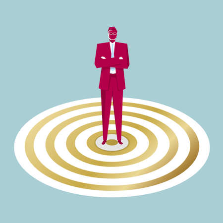 Businessman standing in the middle of a target. Isolated on blue background.