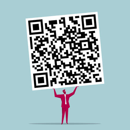 Businessman holds up the QR code symbol. Isolated on blue background. Illustration
