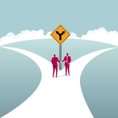 Businessmen shaking hands at a fork road. Business cooperation concept.
