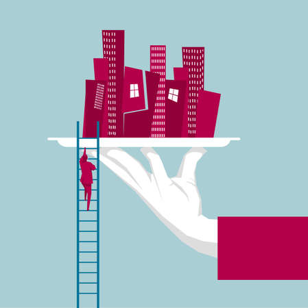 Businessman climbing up a ladder leading to a city .