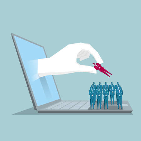 Hand reaching out from laptop and selecting a business candidate.