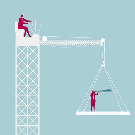 Lifting astronomer through the tower crane. Businessman driving a tower crane. Çizim