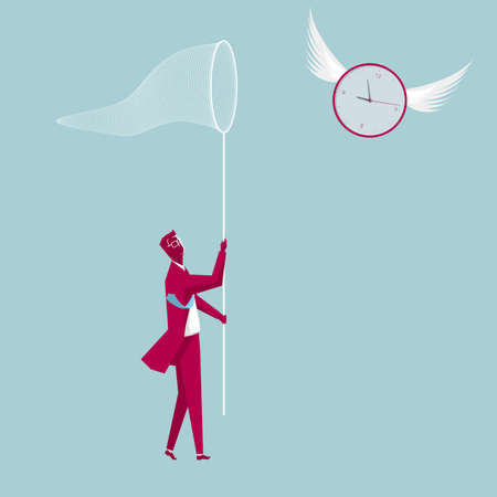 Businessman holding a butterfly net. Capture the clock. The background is blue. Illustration