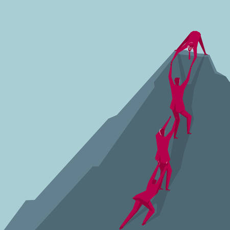 Teamwork concept. A group of people climbing, isolated on blue background. Illustration