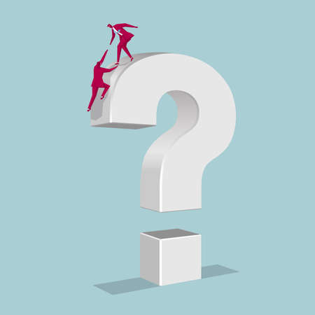 Businessman climbed on the question mark. Isolated on blue background.