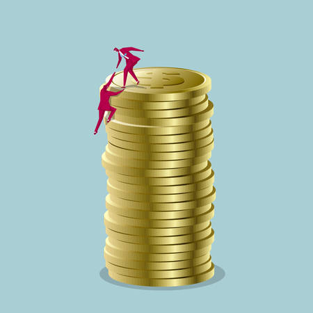 Teamwork concept. Two businessmen climb the top of the dollar coin. 일러스트
