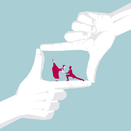 Hand capturing man and woman ballroom dancing Illustration