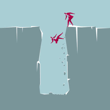 Businessman falling into a pit. Colleague failed to rescue him. Ilustração