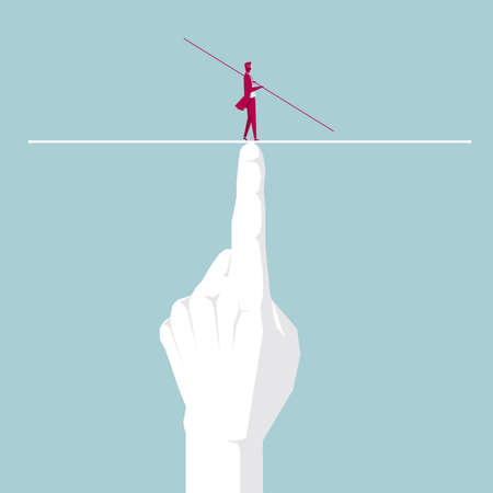 Businessman walking tightrope on the finger. Isolated on blue background. 向量圖像