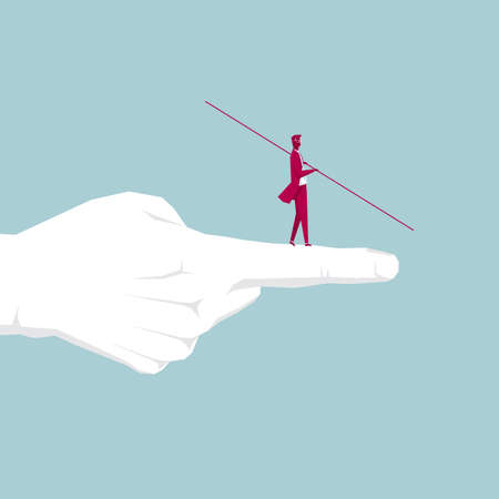 Businessman walking tightrope on the finger. Isolated on blue background.