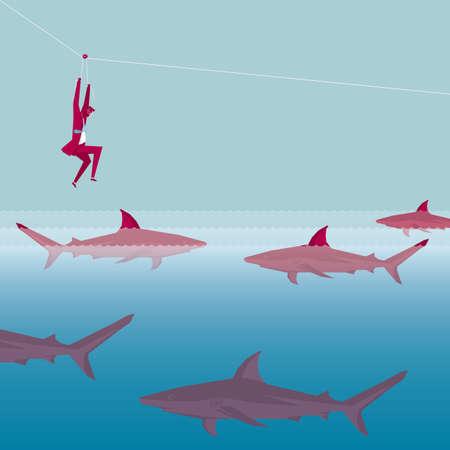Businessman fleeing shark siege using pulley