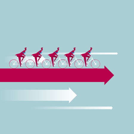 A group of businessmen ride bicycles on the arrows. Isolated on blue background. Illustration