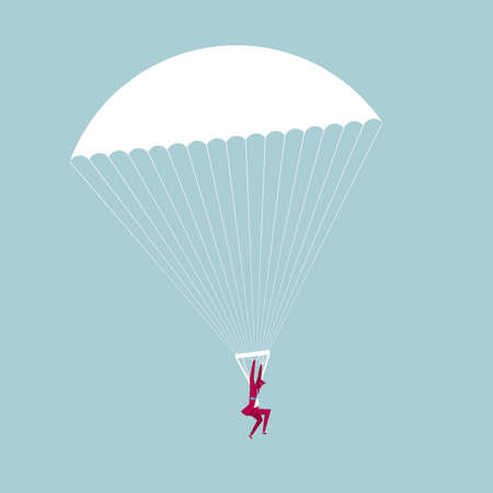 Businessman with a parachute. Isolated on blue background.
